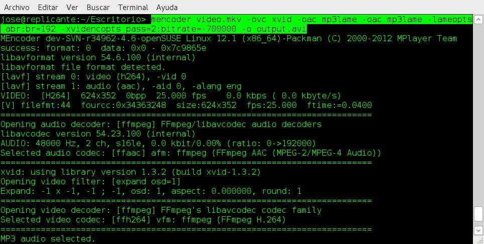 mencoder para transformar archivos