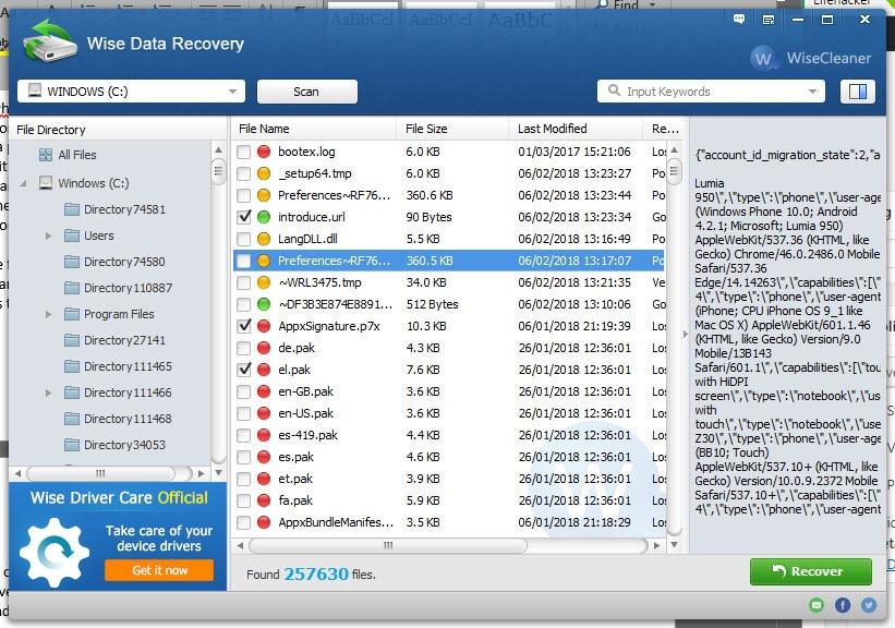 archivos borrados en windows